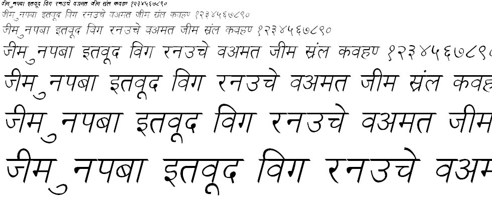 Kruti Dev 030 Italic Hindi Font